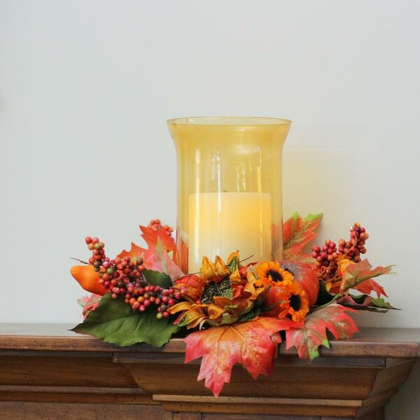 Autumn Harvest Sunflower and Pumpkin Thanksgiving Glass Hurricane by The Holiday Aisle