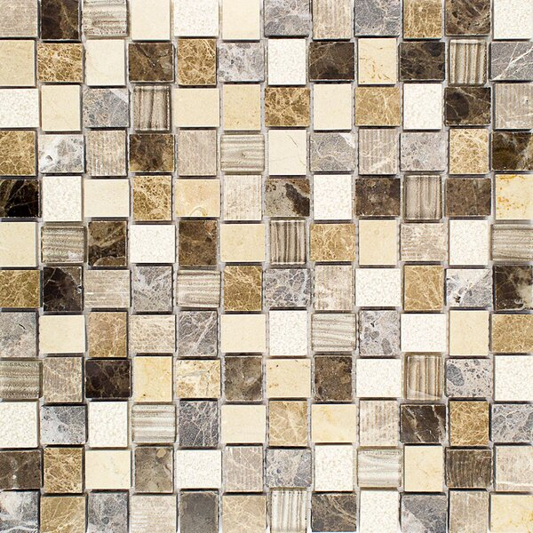Drumlin 0.9 x 1 Mixed Material Mosaic Tile in Windrift by Splashback Tile