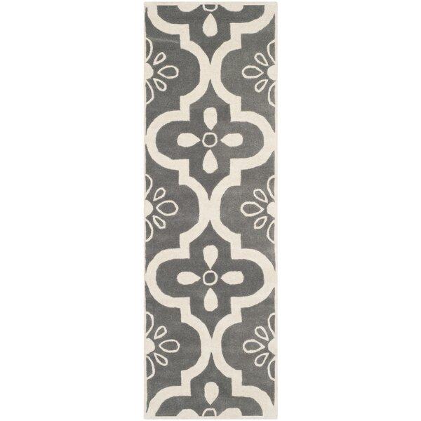 Wilkin Moroccan Hand-Tufted Wool Dark Gray/Ivory Indoor/Outdoor Area Rug by Wrought Studio
