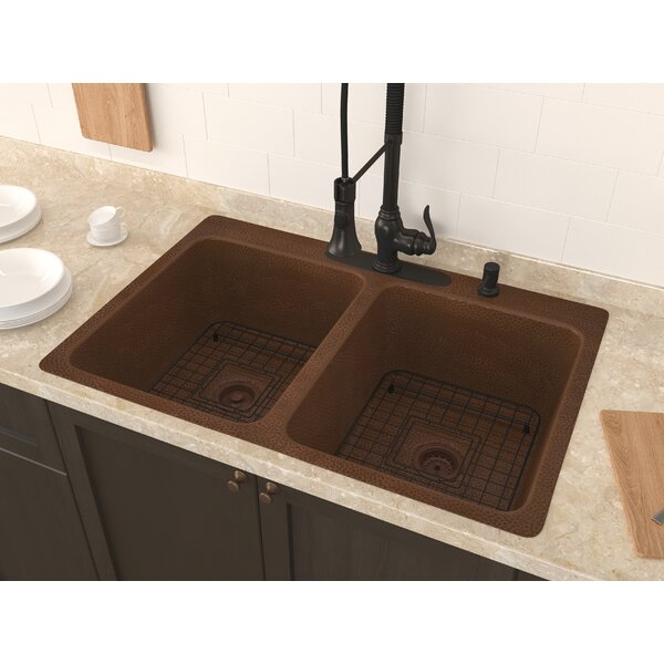 Shore 34 x 22 Double Basin Undermount Kitchen Sink with Basket Strainer and Basin Grid by ANZZI