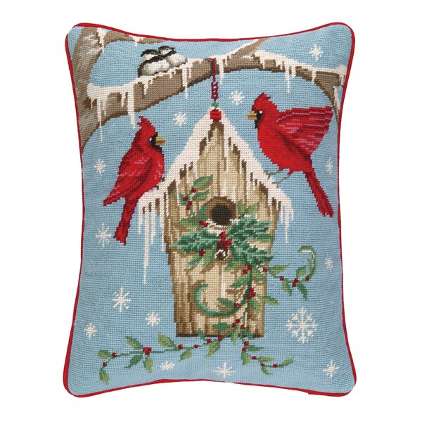 Winter Nest Birdhouse Needlepoint Lumbar Pillow by Peking Handicraft