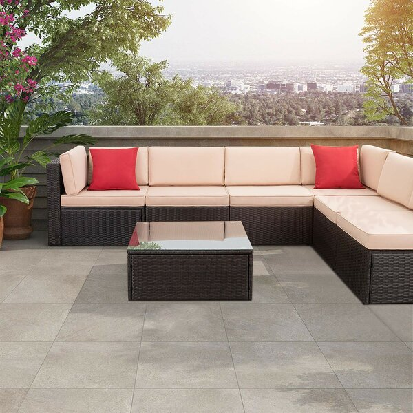 Bump Outdoor 7 Piece Sectional Seating Group with Cushions by Brayden Studio