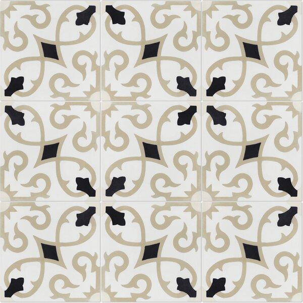Charlotte Primero 8 x 8 Cement Field Tile in Off-White/Black (Set of 12) by Villa Lagoon Tile