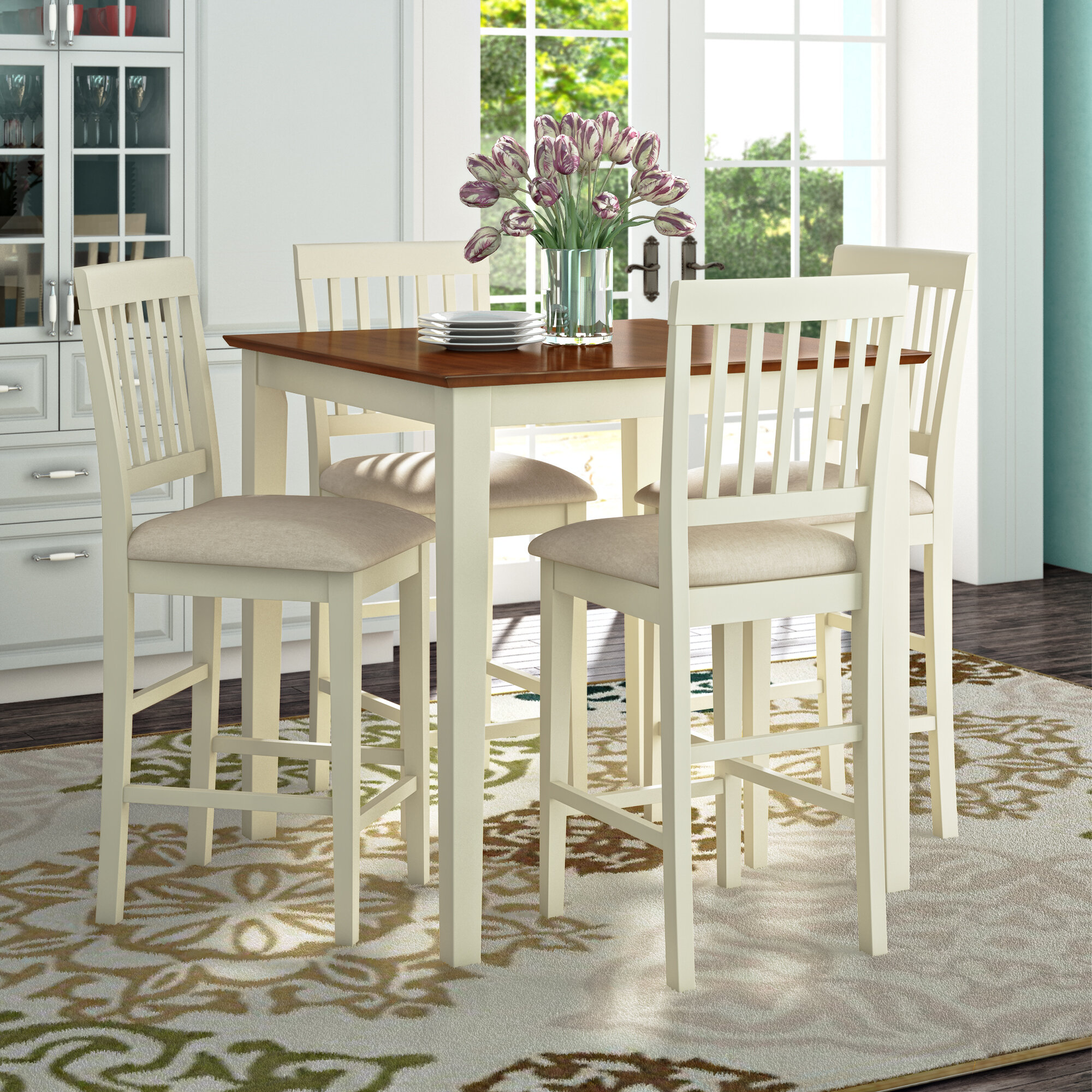 Three posts givens 5 piece counter height pub table set reviews wayfair