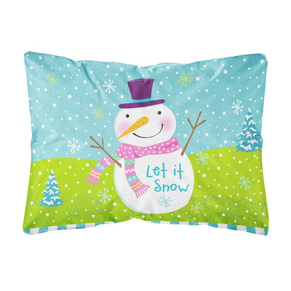 Parnassus Christmas Snowman Let it Snow Fabric Indoor/Outdoor Throw Pillow by The Holiday Aisle