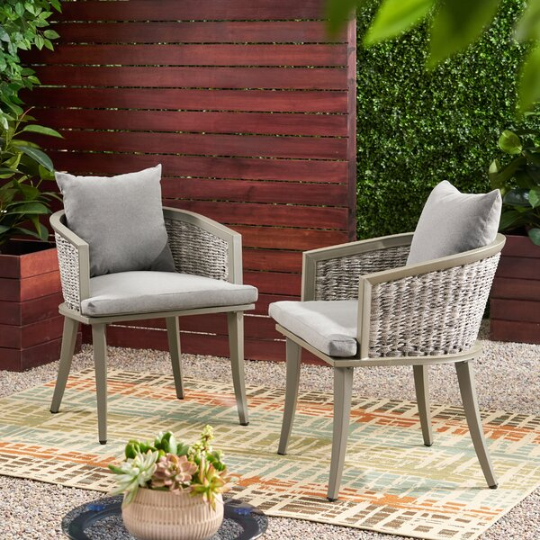 Natalia Outdoor Boho Wicker Club Patio Chair with Cushions (Set of 2) by Brayden Studio