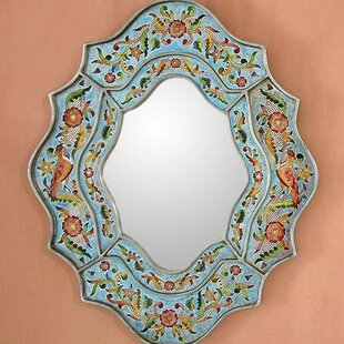 Novica Handcrafted Reverse Painted Glass Wall Mirror