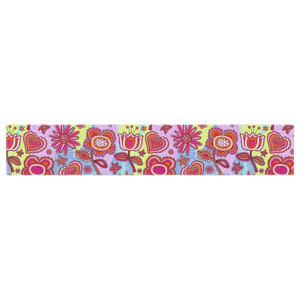 Julia Grifol My Folk Flowers Table Runner by East Urban Home