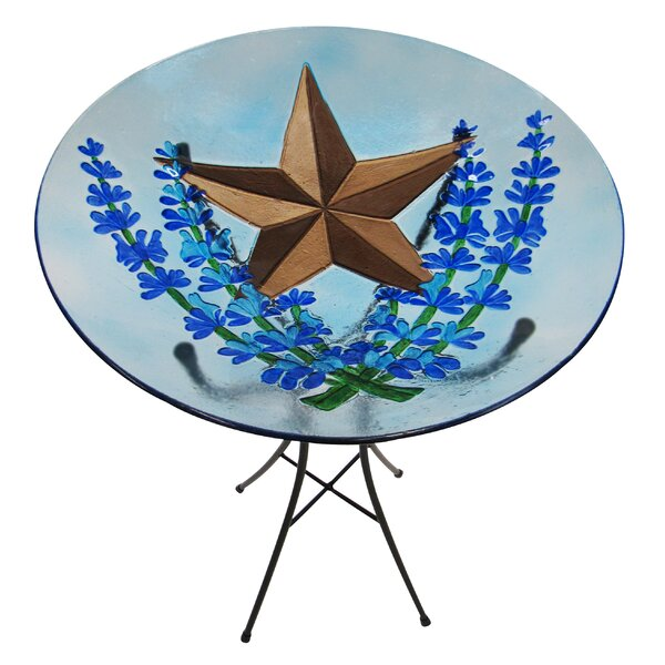 Bluebonnet and Star Glass Birdbath by Leigh Country