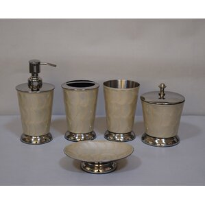 hand painted 5 piece bathroom accessory set set of 5 - Bathroom Accessories Grey