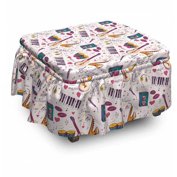 Music Drums Speakers Records 2 Piece Box Cushion Ottoman Slipcover Set By East Urban Home