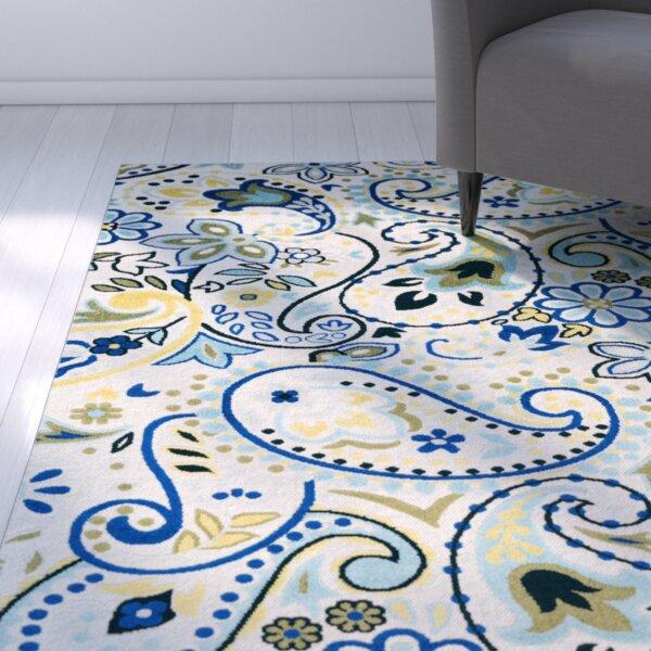 Dorinda Blue/Gray Paisley Indoor/Outdoor Area Rug by Ebern Designs