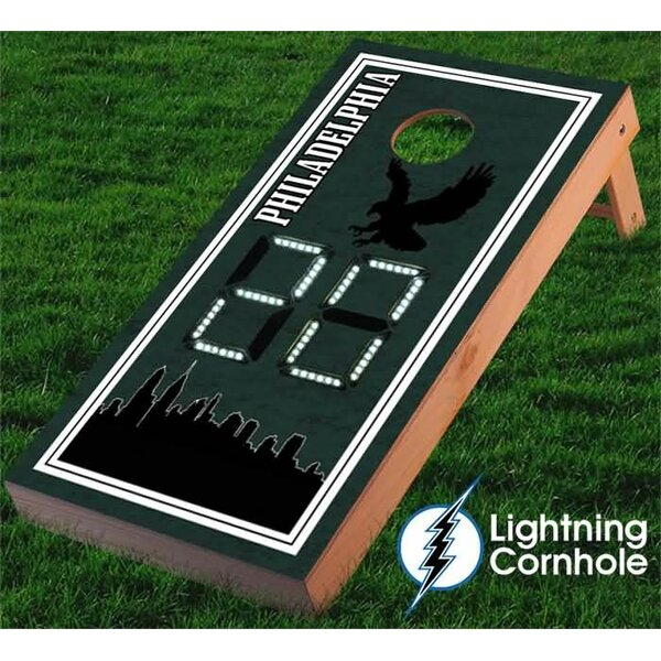 Electronic Scoring Philadelphia Skyline Cornhole Board by Lightning Cornhole