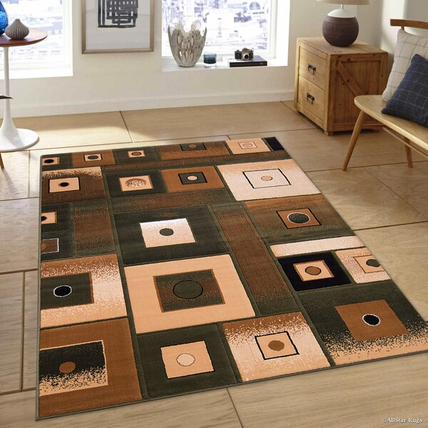 Hand-Tufted Green/Brown Area Rug by AllStar Rugs