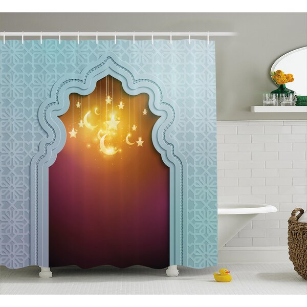 Askham Arabic Signs and Stars Shower Curtain by Bloomsbury Market