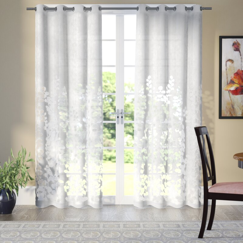 Stanton Nature/Floral Sheer Grommet Curtain Panels