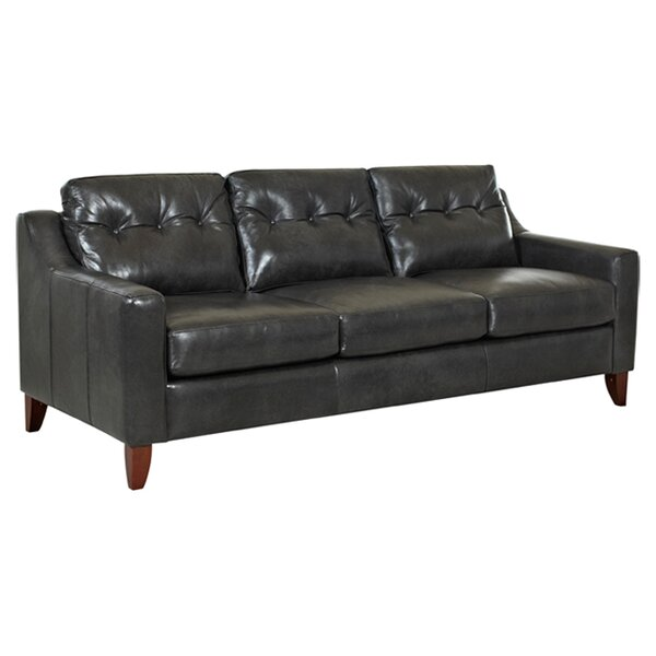 Waldman Tufted Leather Sofa by Ebern Designs