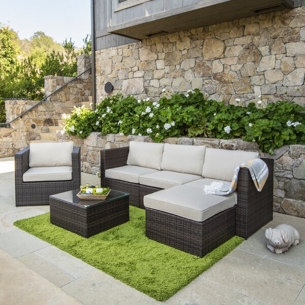 Midland 6 Piece Rattan Sectional Seating Group with Cushion by Sol 72 Outdoor