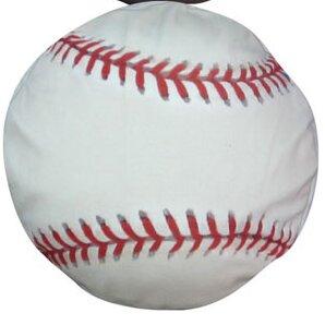 Round Baseball Dog Pillow by Dogzzzz