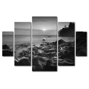 'Sunset At Ruby Beach' by Moises Levy 5 Piece Photographic Print on Wrapped Canvas Set by Trademark Fine Art