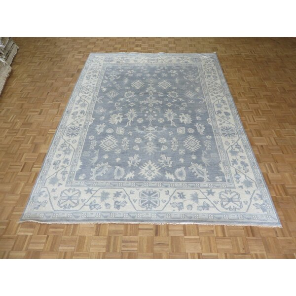 One-of-a-Kind Josephson Oushak Ushak Hand-Knotted Wool Silver/Blue Area Rug by Canora Grey