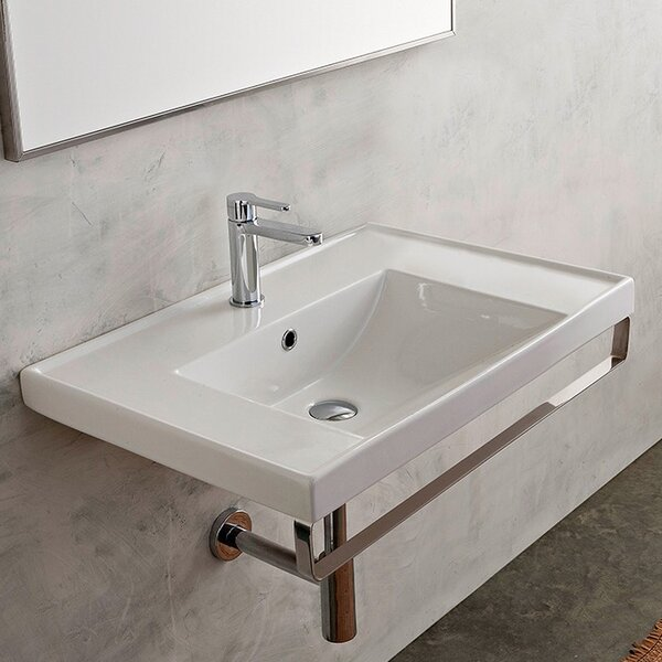 ML Ceramic 37 Wall Mount Bathroom Sink with Overflow by Scarabeo by Nameeks