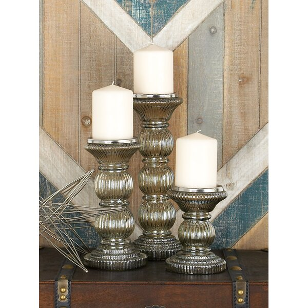 3 Piece Glass Candlestick Set by One Allium Way