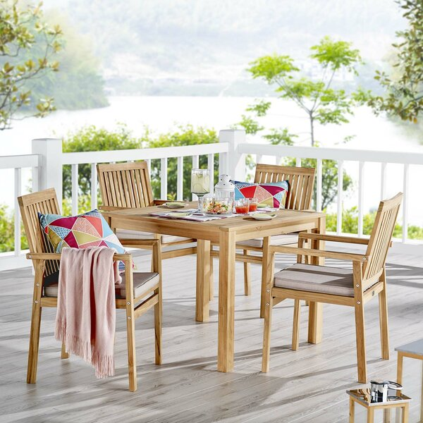 Koa Outdoor Patio 5 Piece Teak Dining Set with Cushions by Rosecliff Heights