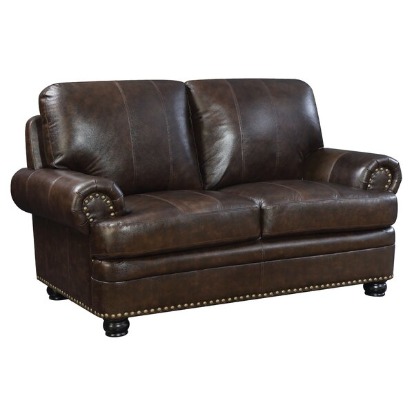 Alamosa Transitional Leather Loveseat by Hokku Designs