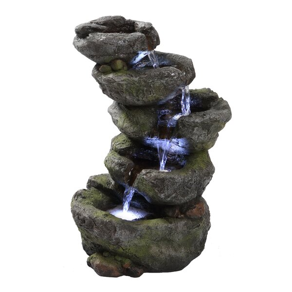 Polyresin Multi Level Rock Fountain with LED Light by Hi-Line Gift Ltd.