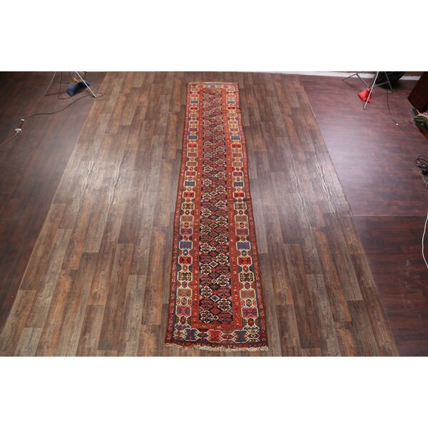 Wasserhund Kazak Antique Traditional Caucasian Russian Classical Oriental Hand-Knotted Wool Red/Black/Blue Area Rug