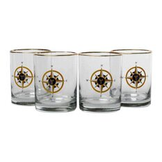 Compass Rose Double 14 Oz. Old Fashioned Glass (Set of 4) by Richard E. Bishop