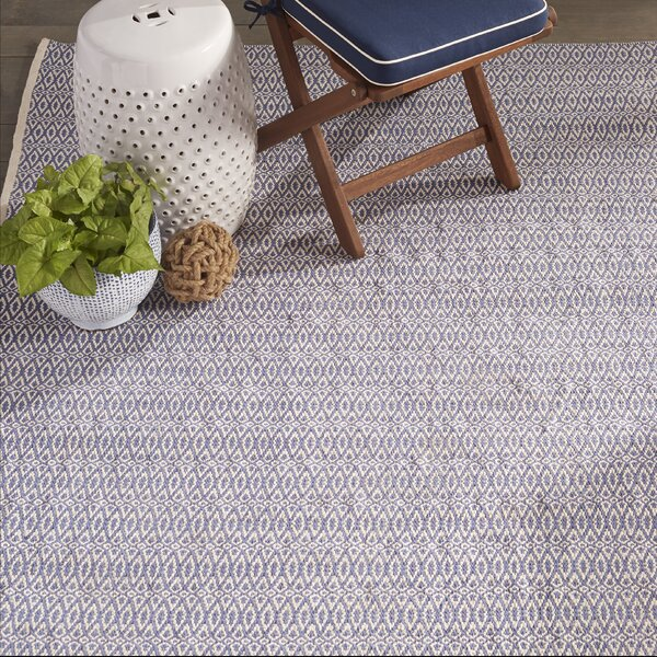 Fair Isle French Hand-Woven Cotton Blue/Ivory Area Rug by Dash and Albert Rugs