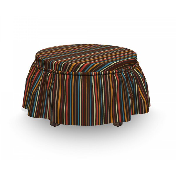 Vertical Lines Ottoman Slipcover (Set Of 2) By East Urban Home