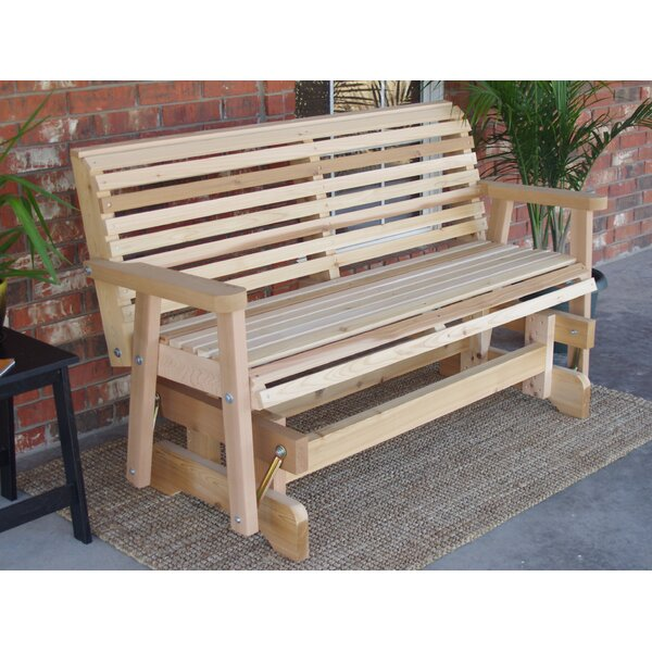 Jessica Cedar Glider Bench by Millwood Pines