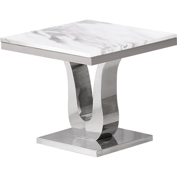 Maidenhead Marble End Table by Everly Quinn