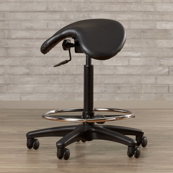 Bouley Height Adjustable Backless Stool with Saddle Seat by Wrought Studio