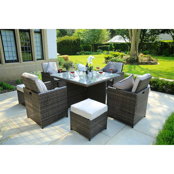Alianna 9 Piece Dining Set with Cushions by Latitude Run