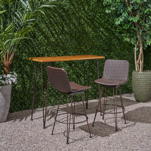 Dasher Outdoor Acacia Wood and Iron 3-Piece Bar Set by 17 Stories