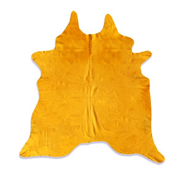 Whisenant Hand Woven Cowhide Yellow Indoor Area Rug by Latitude Run