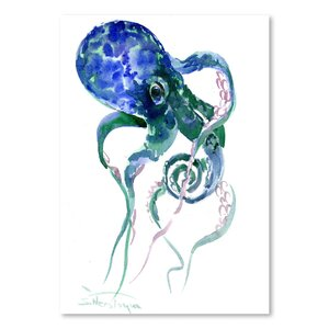 'Octopus Blue Green' by Suren Nersisyan Painting Print by Americanflat