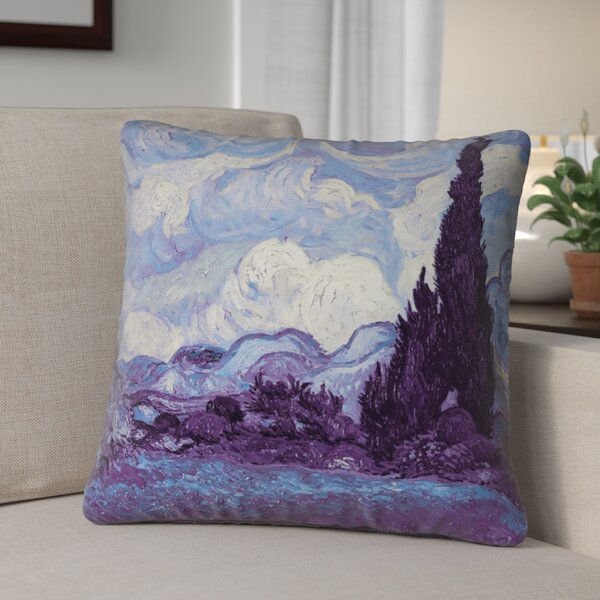 Morley Resistant Indigo Wheatfield with Cypresses Outdoor Throw Pillow