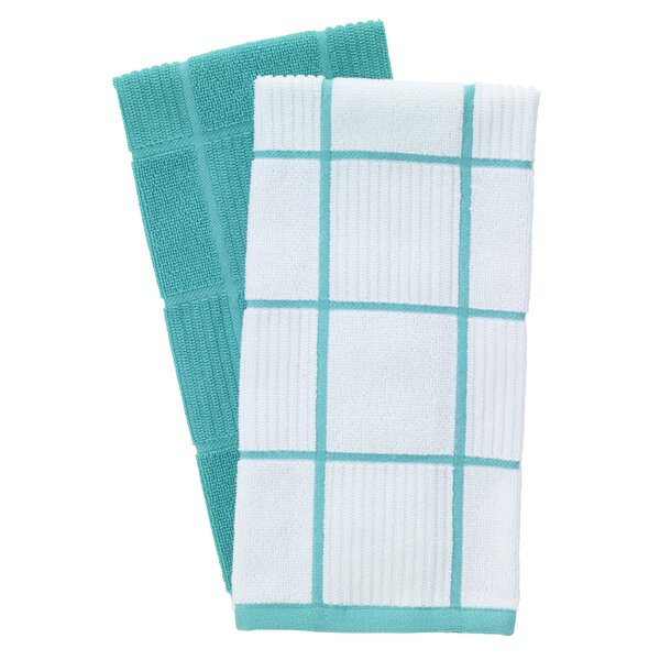 2 Piece Solid and Check Parquet Kitchen Dishcloth Set by T-fal