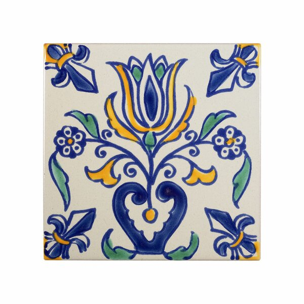 Mediterranean 4 x 4 Ceramic Tulip Decorative Tile in Blue by Casablanca Market