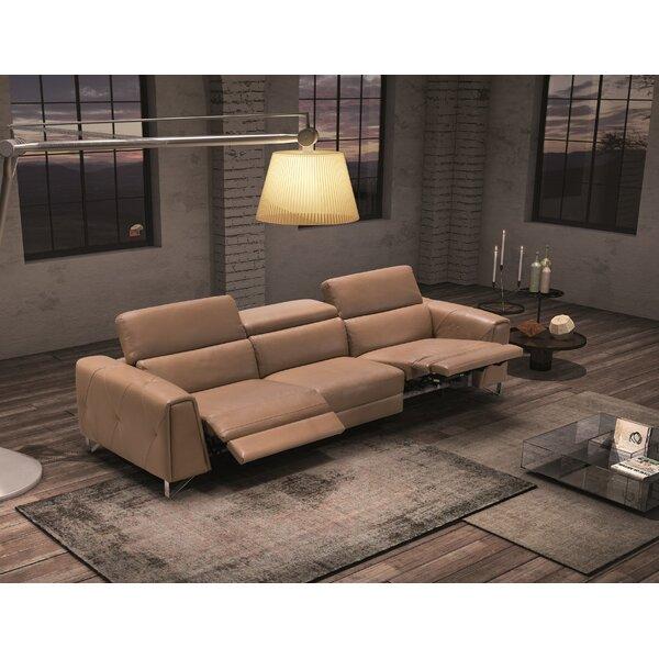 Dahl Leather Reclining Sofa by Orren Ellis