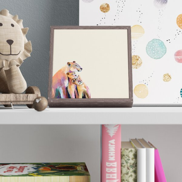Ina Neutral You And Me Lions by Cathy Walters Mini Framed Canvas Art by Harriet Bee