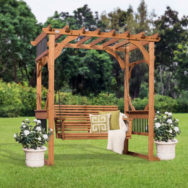 Deluxe 7 Ft. W x 5.5 Ft. D Solid Wood Pergola by B