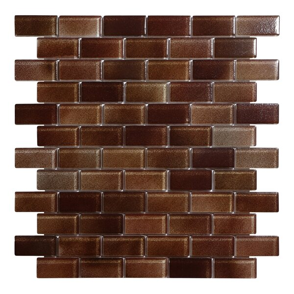 Hi-Fi Offset Brick 1 x 2 Glass Mosaic Tile in Brown by Kellani