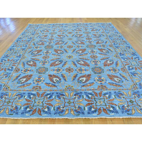 One-of-a-Kind Bexton s Tulip Design Handwoven Blue Wool Area Rug by Isabelline