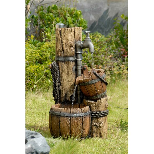 Resin/Fiberglass Tiered Wood Cask Fountain by Jeco Inc.